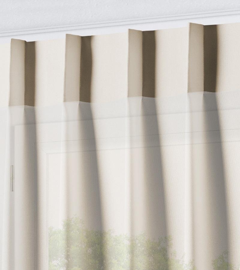 Vitrage - Enkele Plooi - Voile Base Beige VE9953 - Veneta Raamdecoratie