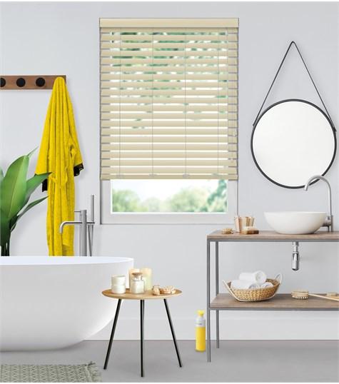 Sensations - PVC Jaloezie Fauxwood 63mm - Taupe met houtprint 6103
