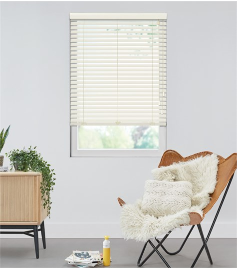 Harmony - Houten jaloezie Privacy 50mm - Creme Wit ND006