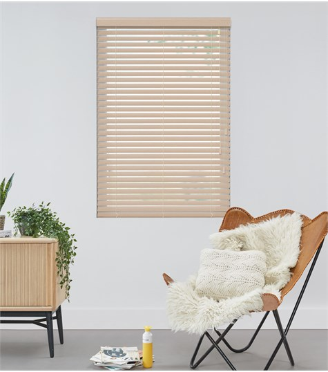 Harmony - 50mm Privacy wood blind  - White Wash  - P110
