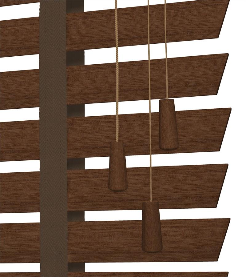 Harmony houten jaloezie deco met ladderband 50mm donker bruin nd215 - Houten deco ...
