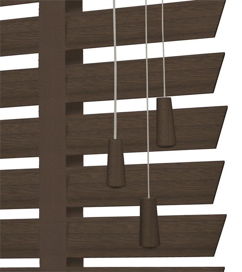 Harmony houten jaloezie deco met ladderband 50mm grijs bruin nd220 - Houten deco ...