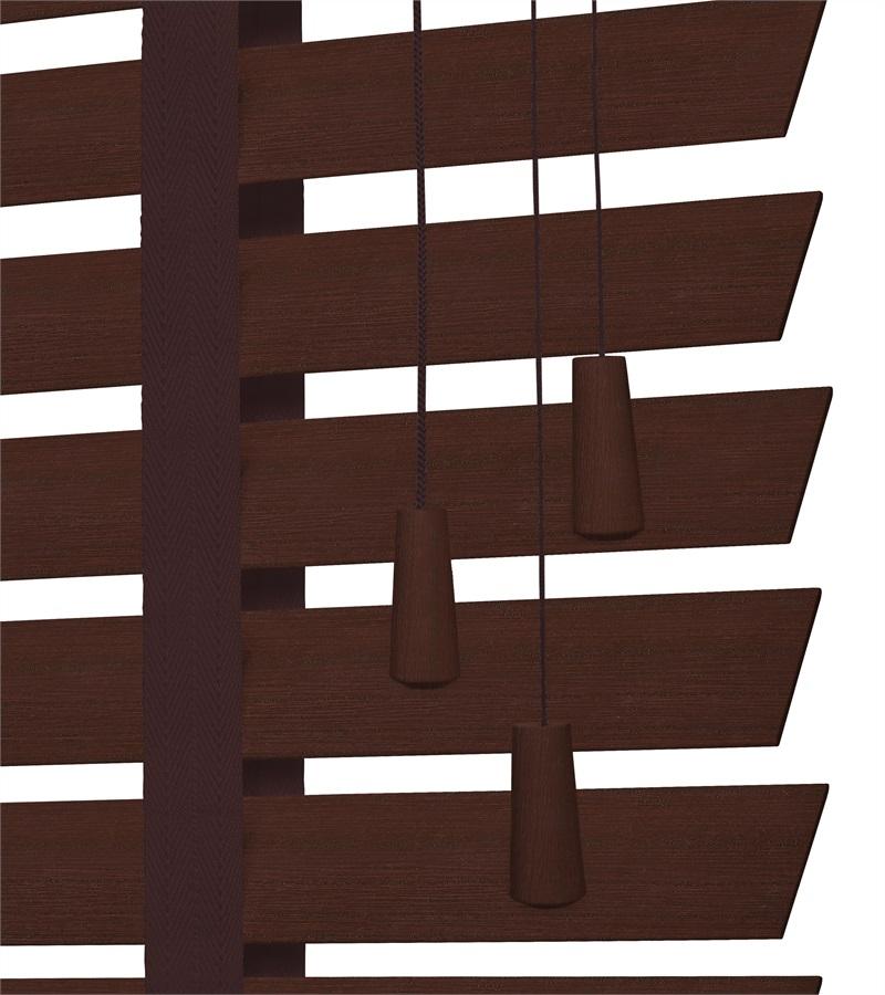 Houten jaloezieen 50mm met ladderband dark cherry houtkleur - Houten deco ...