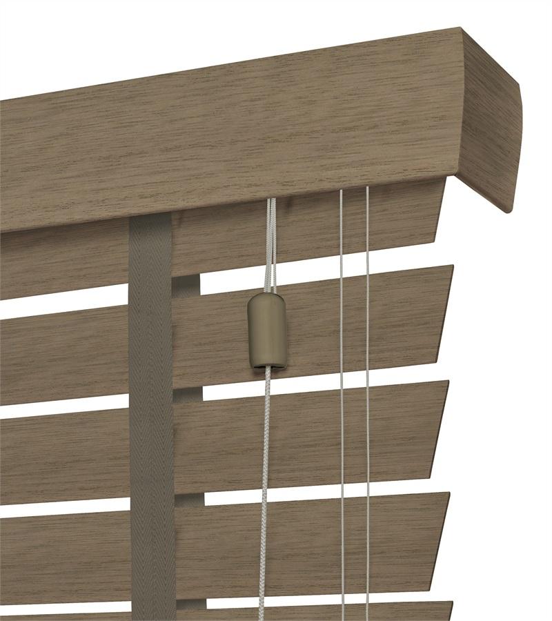 Houten jaloezieen 63mm met ladderband rustic grey grijs - Houten deco ...