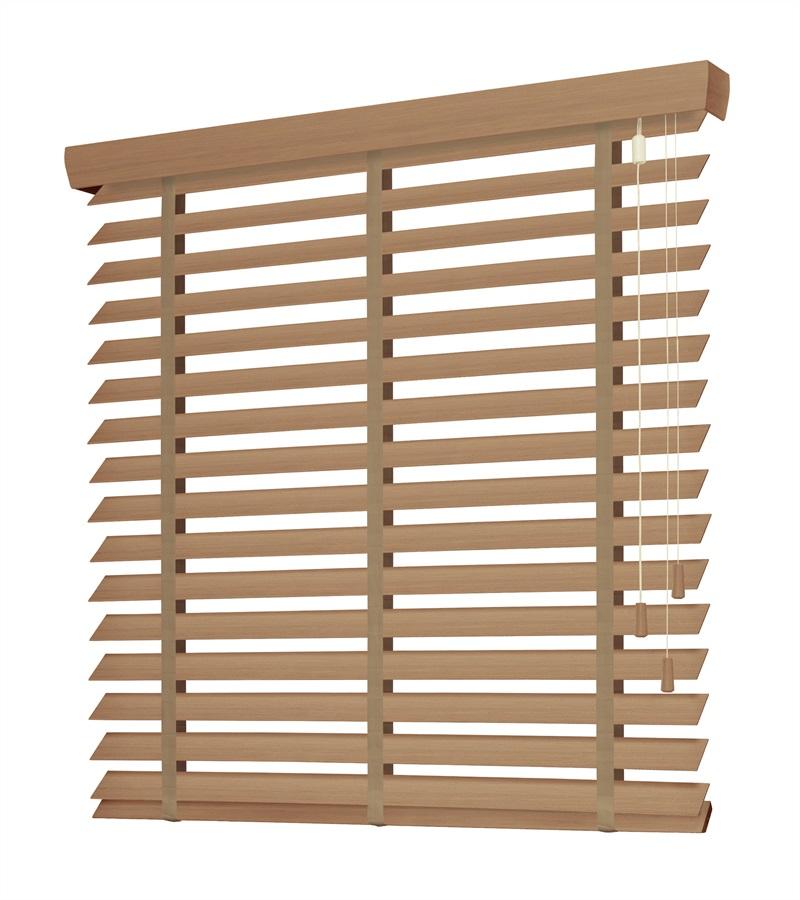 Harmony houten jaloezie deco met ladderband 63mm licht eiken nd114 - Houten deco ...