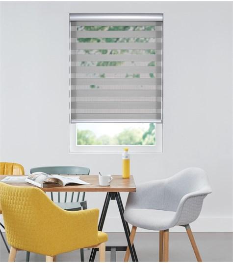 Colors - Duo Rolgordijn - Semi-transparant - Zilver Grijs VELX47
