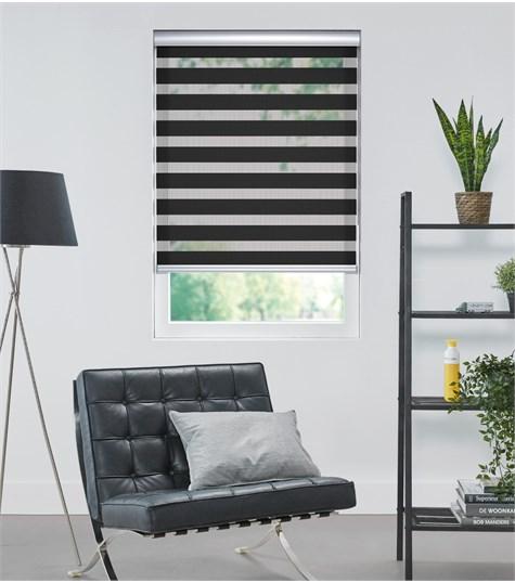 Colors - Duo Rolgordijn - Semi-transparant - Zwart VELX98