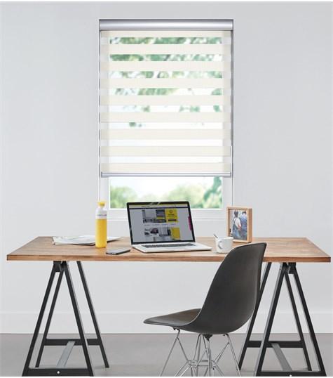 Bamboo - Duo Rolgordijn - Semi-transparant - Wit VESE23