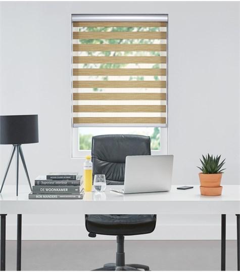 Bamboo - Duo Rolgordijn - Semi-transparant - Riet VESE34