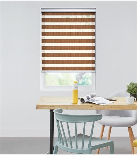 Bamboo - Duo Rolgordijn - Semi-transparant - Bruin VESE38