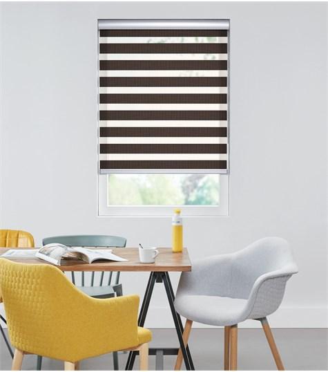 Bamboo - Duo Rolgordijn - Semi-transparant - Donker Bruin VESE84